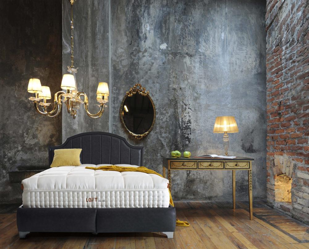 Hkm Loft Schwarz Baza Bett Set